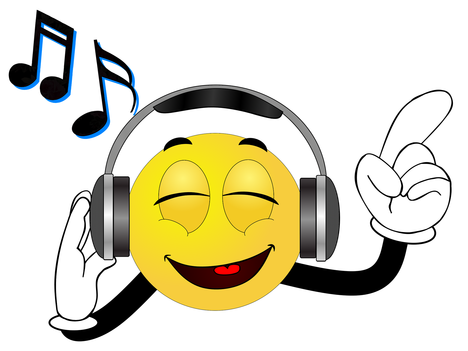 image of emoji listening to music