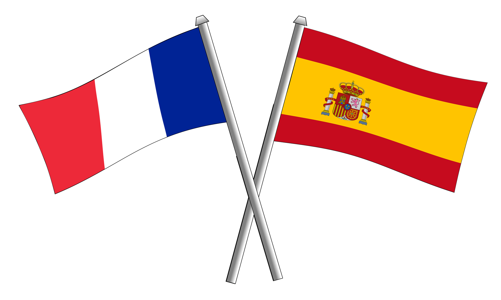 Spanish and French flags