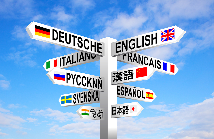 Sign post showing different languages