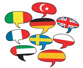 image of multilingual speech bubbles