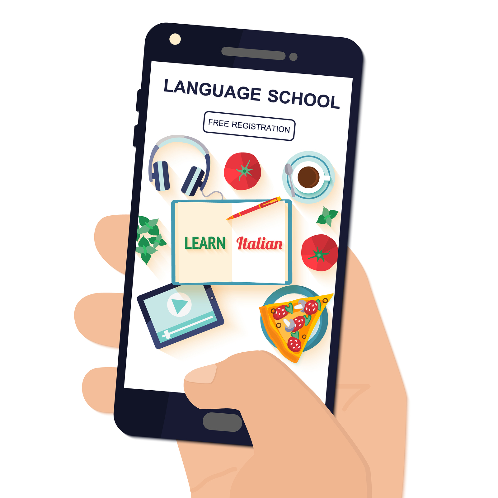 phone showing language learning app