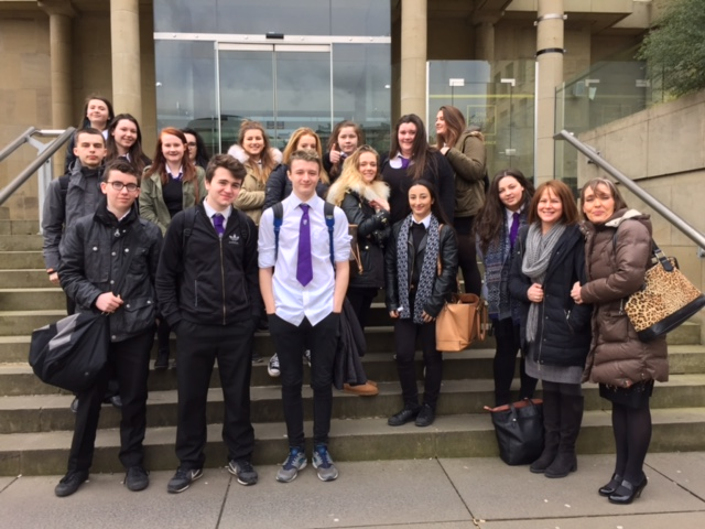 Image of pupils outside Sheraton Grand Hotel and Spa
