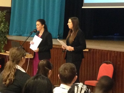 Jurys Inn staff talk to pupils at Lourdes Secondary