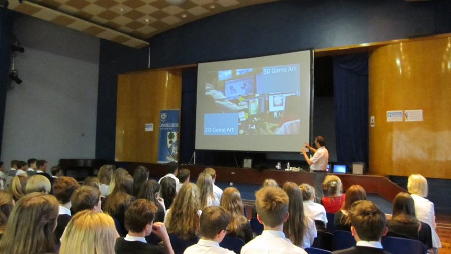 Thomas Hulvershorn speaks to pupils at Woodmill High School